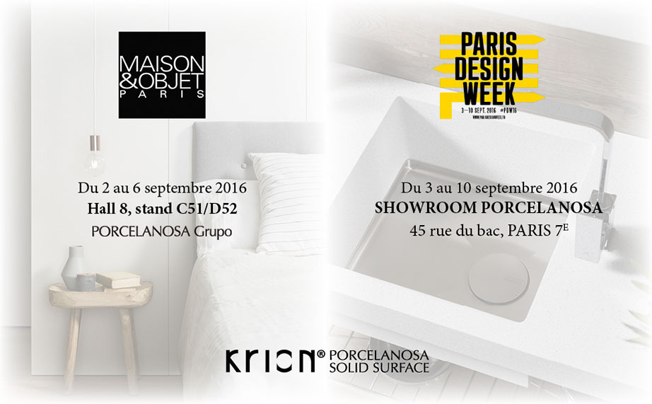 Maison & Objet  y Paris Design Week citas ineludibles para el Grupo PORCELANOSA y KRION® - Solid Surface