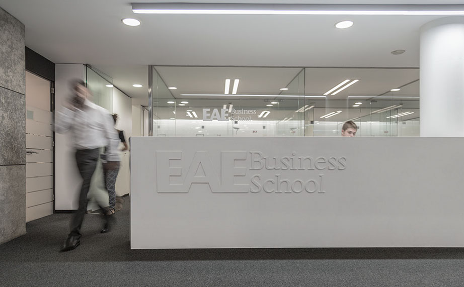 compeixalaigua designs with krion® for eae business school . Solid Surface for signage