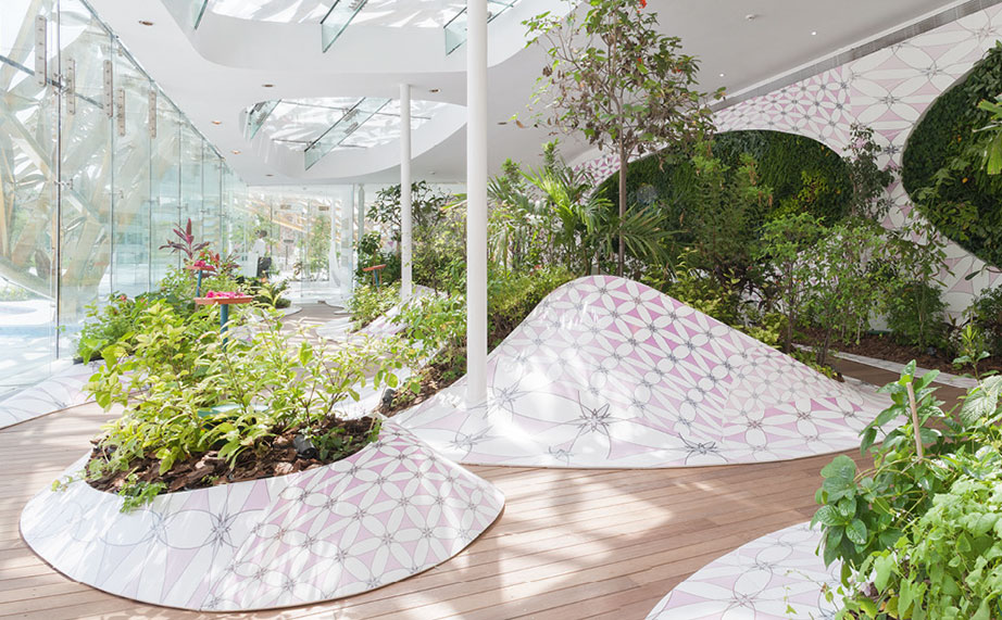 3deluxe – noor island (united arab emirates) – krion® in the butterfly pavilion. Solid Surface for produkty