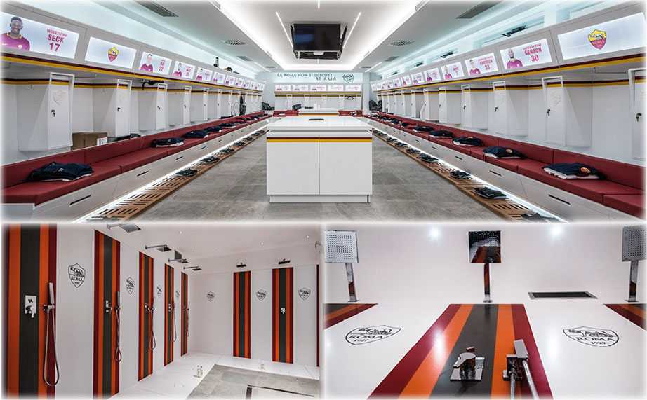 krion® also in the calcio league, in the sports complex of a.s. roma. Solid Surface  public spaces & government buildings