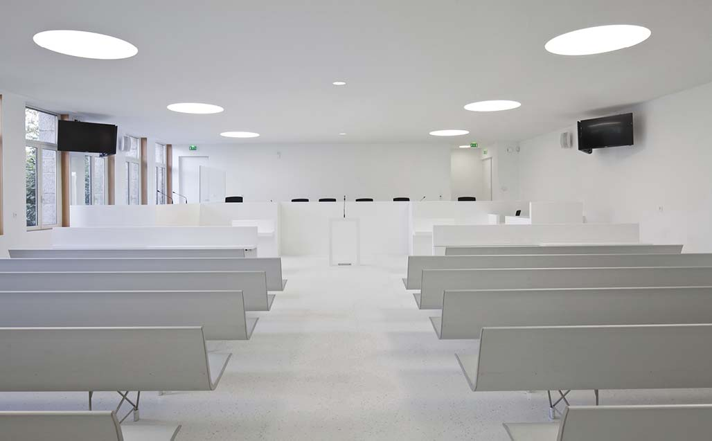 "Mûrisserie Parent+Rachdi plan the coverings and units of the ""High Court of Lorient"", France, with KRION - Solid surface"
