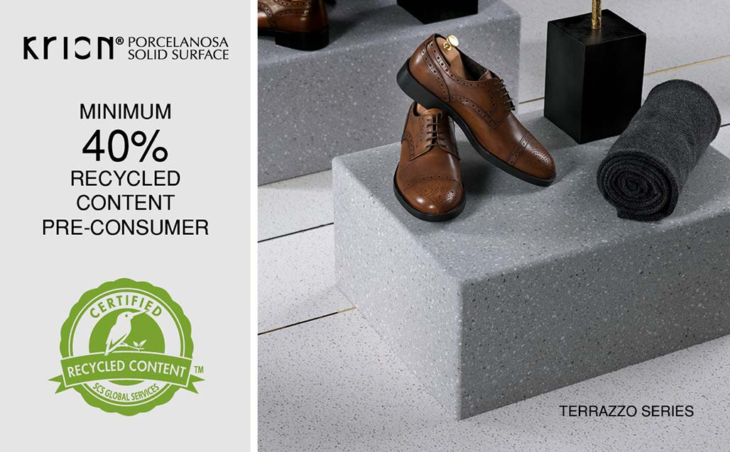 KRION® strengthens its Social Commitment, expanding its SCS Certification – 40% Minimum Recycled Content in the Terrazzos Series - Solid Surface