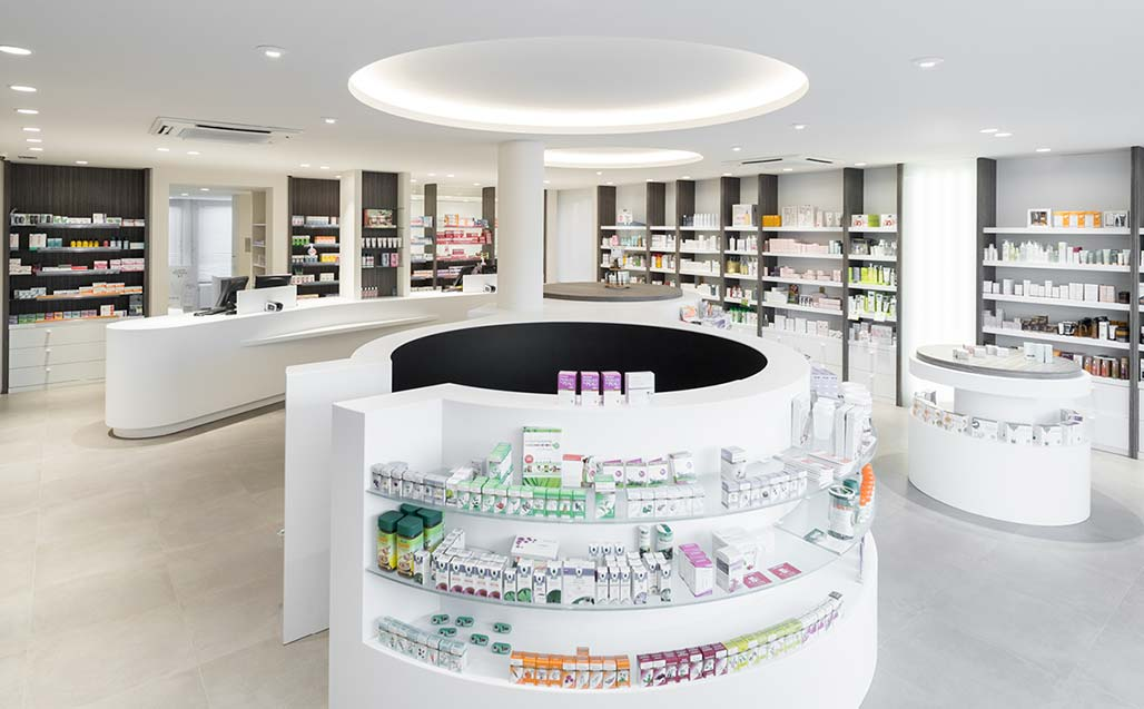 krion® in the farmacia rooseleers project by studio lijnen & partners (paal, beringen – belgium) . Solid Surface  healthcare