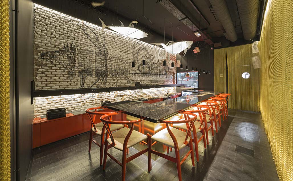 enrique barrera includes krion in the dream of chef emil samper, crudito restaurant. Solid Surface 的 餐饮设施