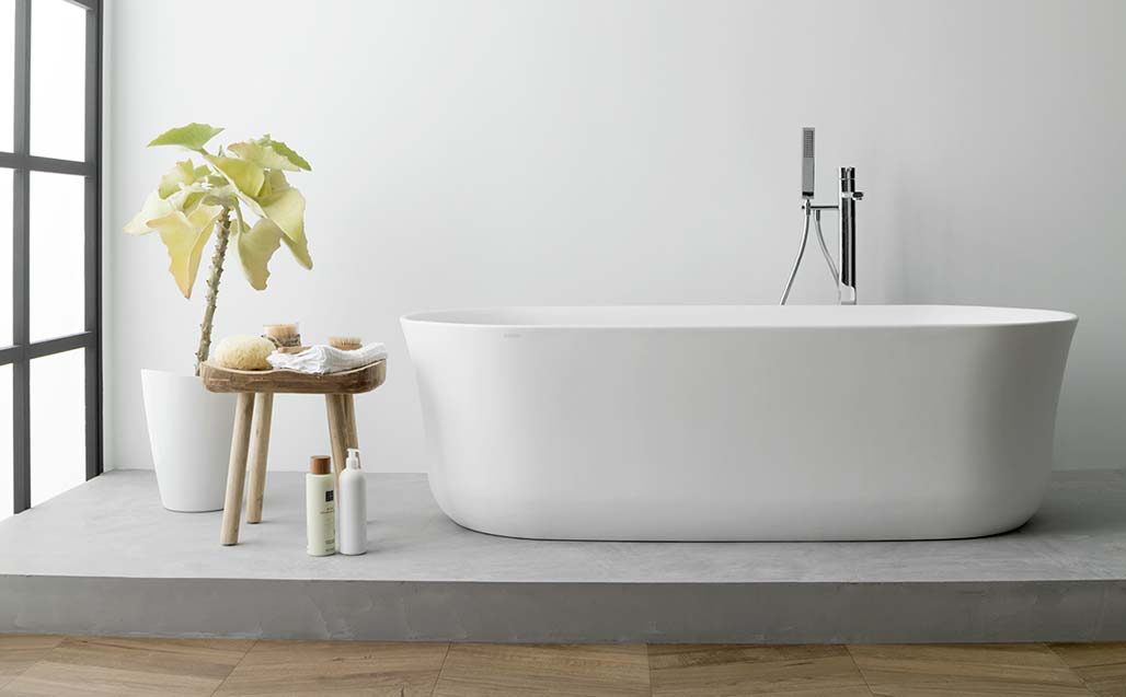 ARCH bathtub – subtlety, elegance and practicality with a touch reminiscent of natural Stone, from KRION® BATH - Solid Surface
