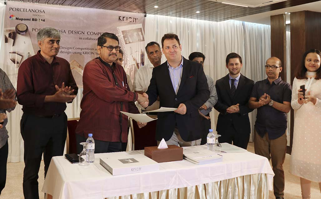 "Nupami BD and the Institue of Architects Bangladesh (IAB) sign an agreement to organise the ""KRION Solid Surface Porcelanosa Design Competition"""