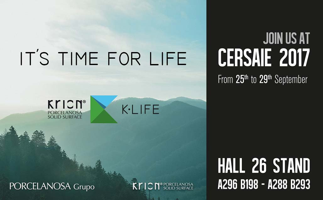 KRION and PORCELANOSA Group faithful to the CERSAIE 2017 appointment - Solid Surface