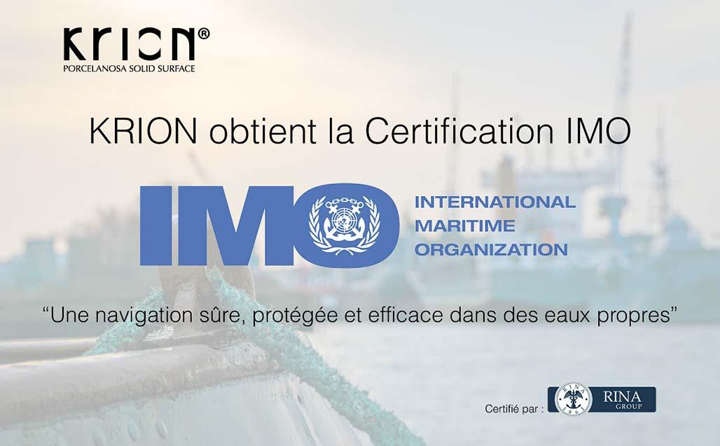 KRION passe  avec succès les tests rigoureux de la Certification IMO (International Maritime Organization) SOLID SURFACE