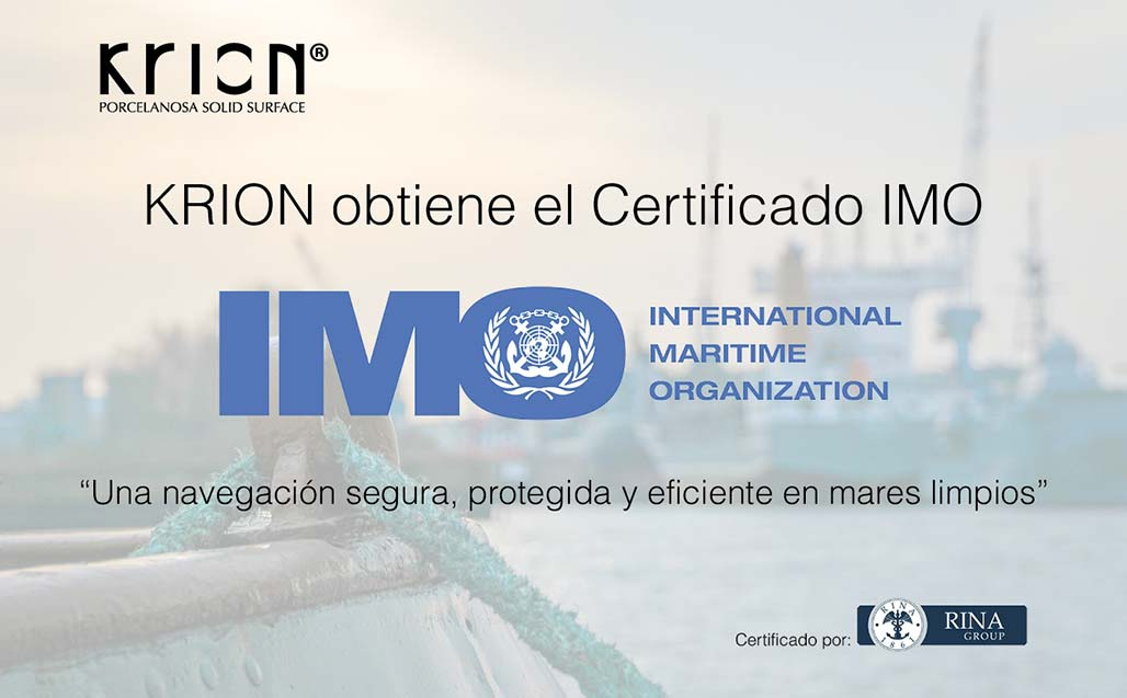 KRION supera con éxito los rigurosos test de la Certificación IMO (International Maritime Organization) SOLID SURFACE