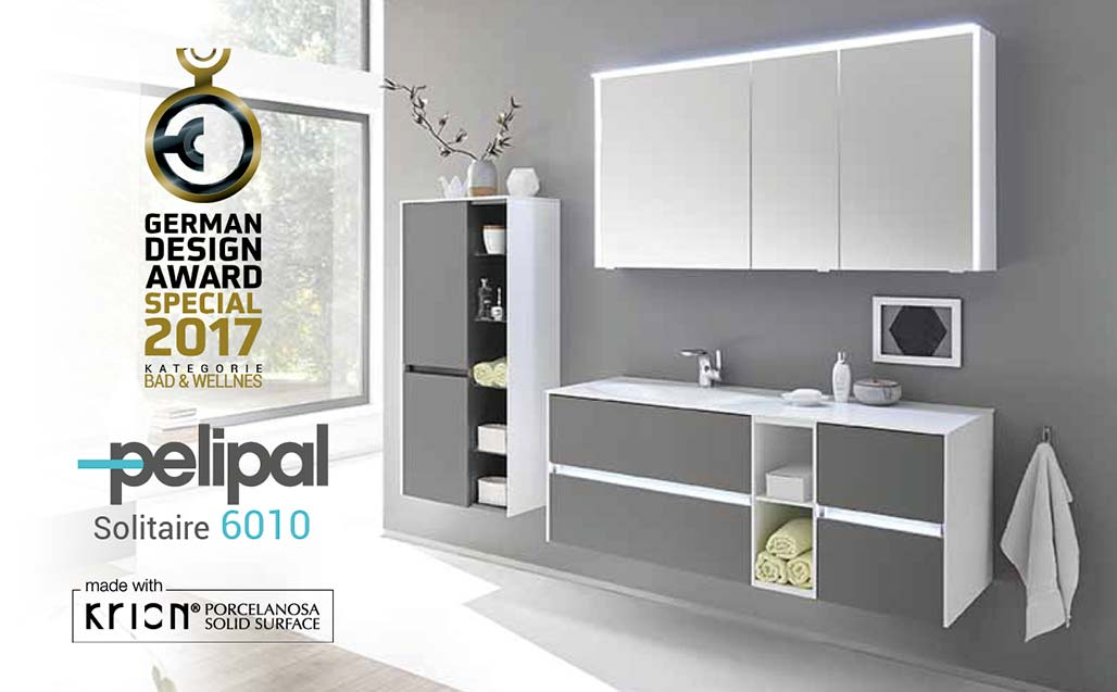 "PELIPAL vince il ""German Design Award"" con la serie SOLITAIRE 6010  realizzata in KRION Solid Surface"