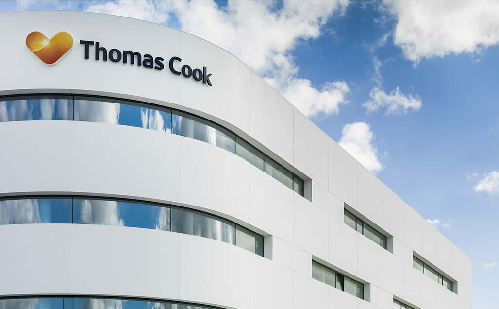 travel agency thomas cook uses krion in the facade of its new installations in mallorca. Solid Surface  locais comerciais e empresas