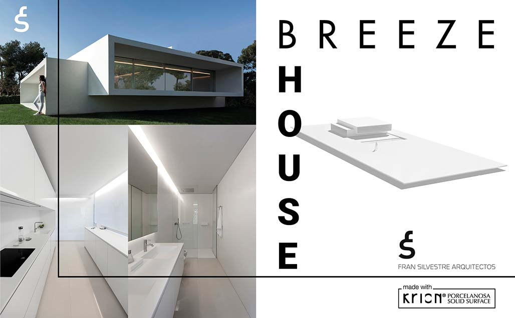 "krion in the minimalist ""breeze house"" by fran silvestre arquitectos . Solid Surface  casas"