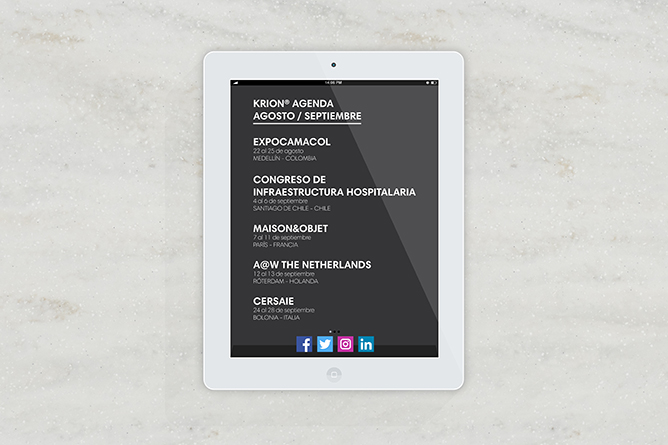 KRION® Agenda August/ September