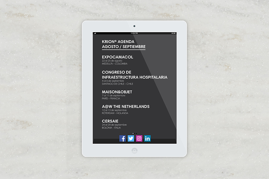 KRION® Agenda August/ September - Solid Surface