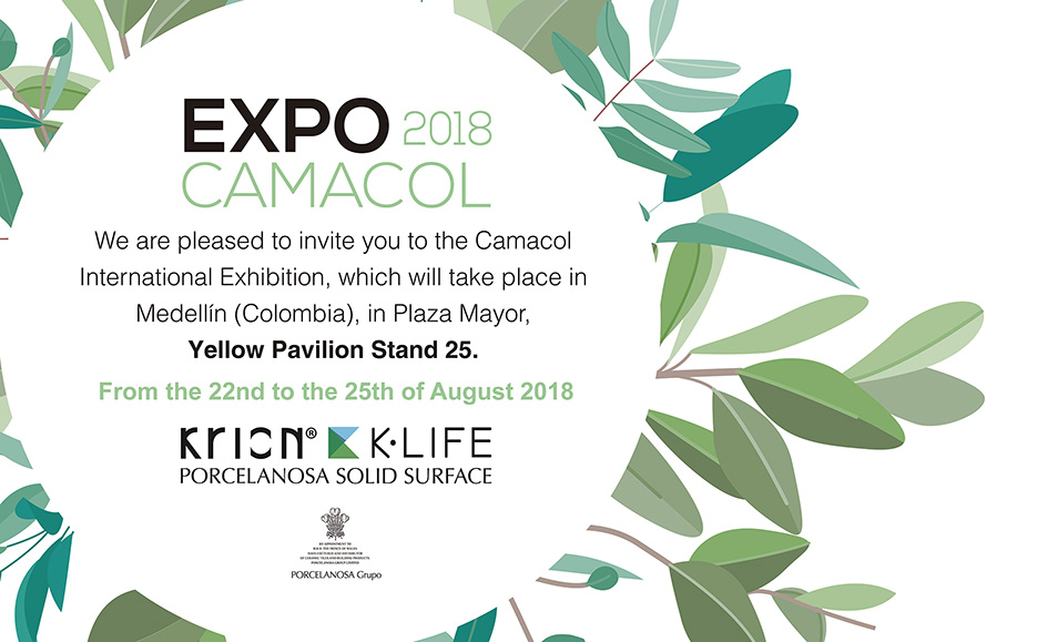 krion®'s invitation to expocamacol, the international construction, architecture and design trade fair.. Solid Surface  locais comerciais e empresas