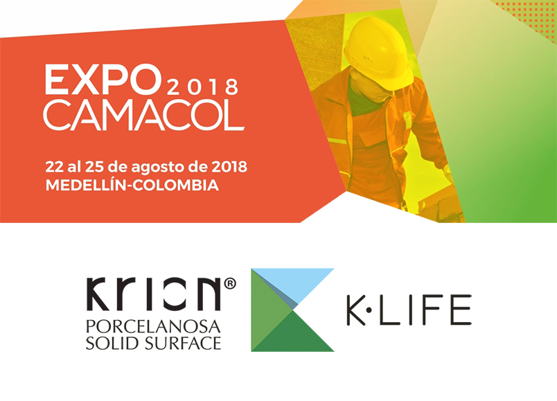 the k·life sensory experience impresses a large number of professionals at expocamacol, the international industrial and construction trade fair. Solid Surface  locais comerciais e empresas