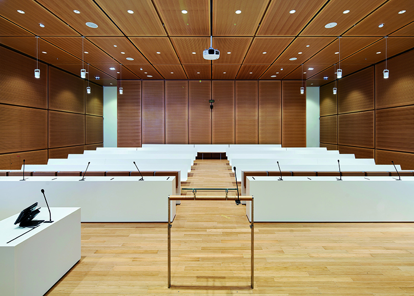 Furniture created with KRION® in the new Tribunal de Grande Instance building in Paris