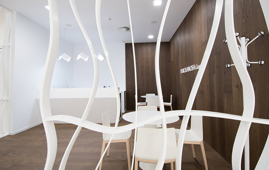 krion project: creative compositions which fulfill functional necessities. Solid Surface for commercial furniture