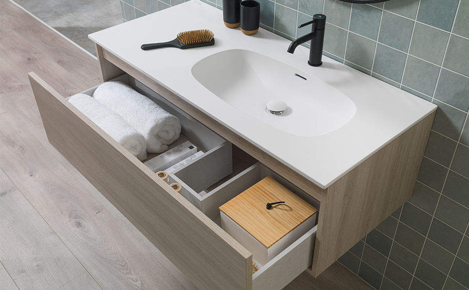 the latest designs from krion™: one & smart bathroom furniture. Solid Surface  public spaces & government buildings