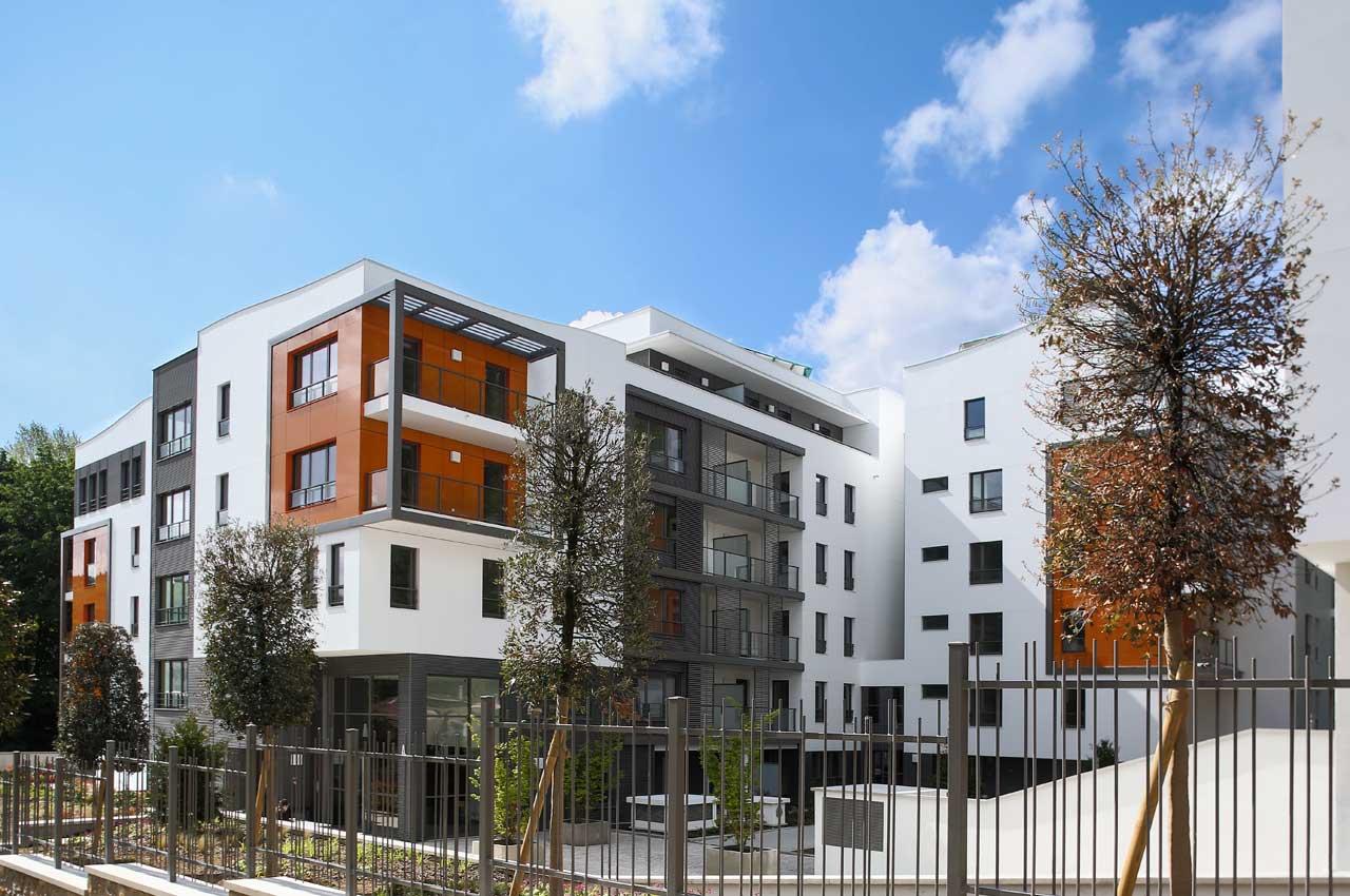 fachada edificio residencial - neudon - francia. Solid Surface  rivestimento da esterni