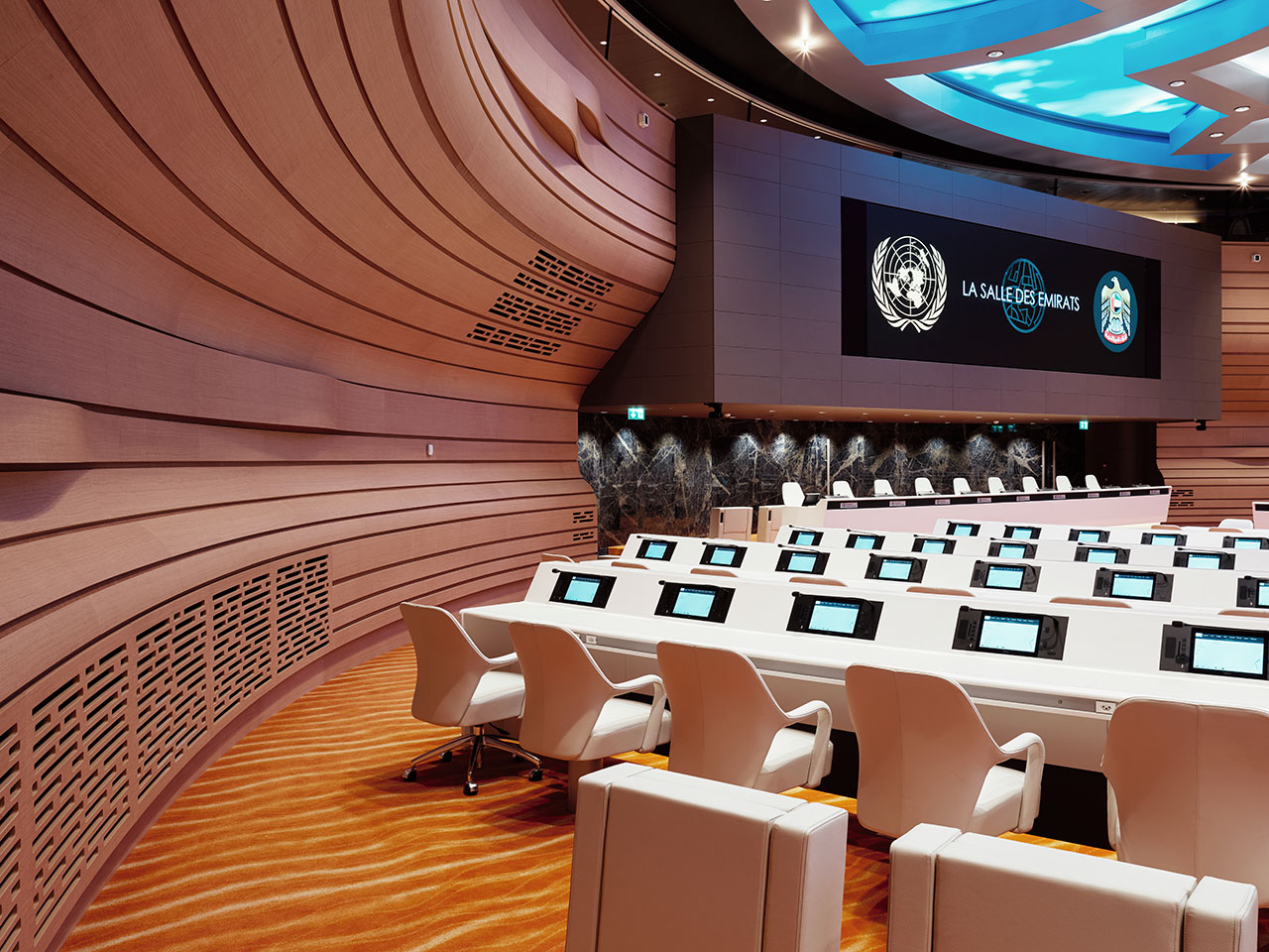 the emirates hall – onu – ginebra - suiza. Solid Surface for furniture