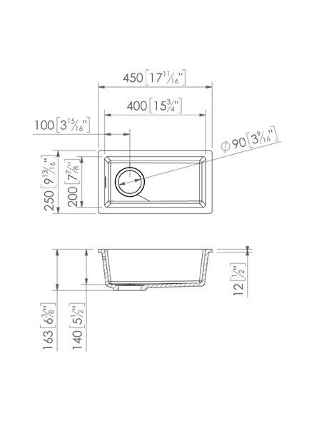 Solid Surface Solid Surface Sinks Basic C834 - 20x40 cm E